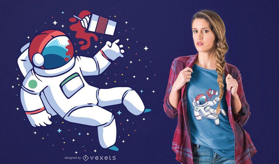 Projeto do t-shirt de Frappuccino do astronauta