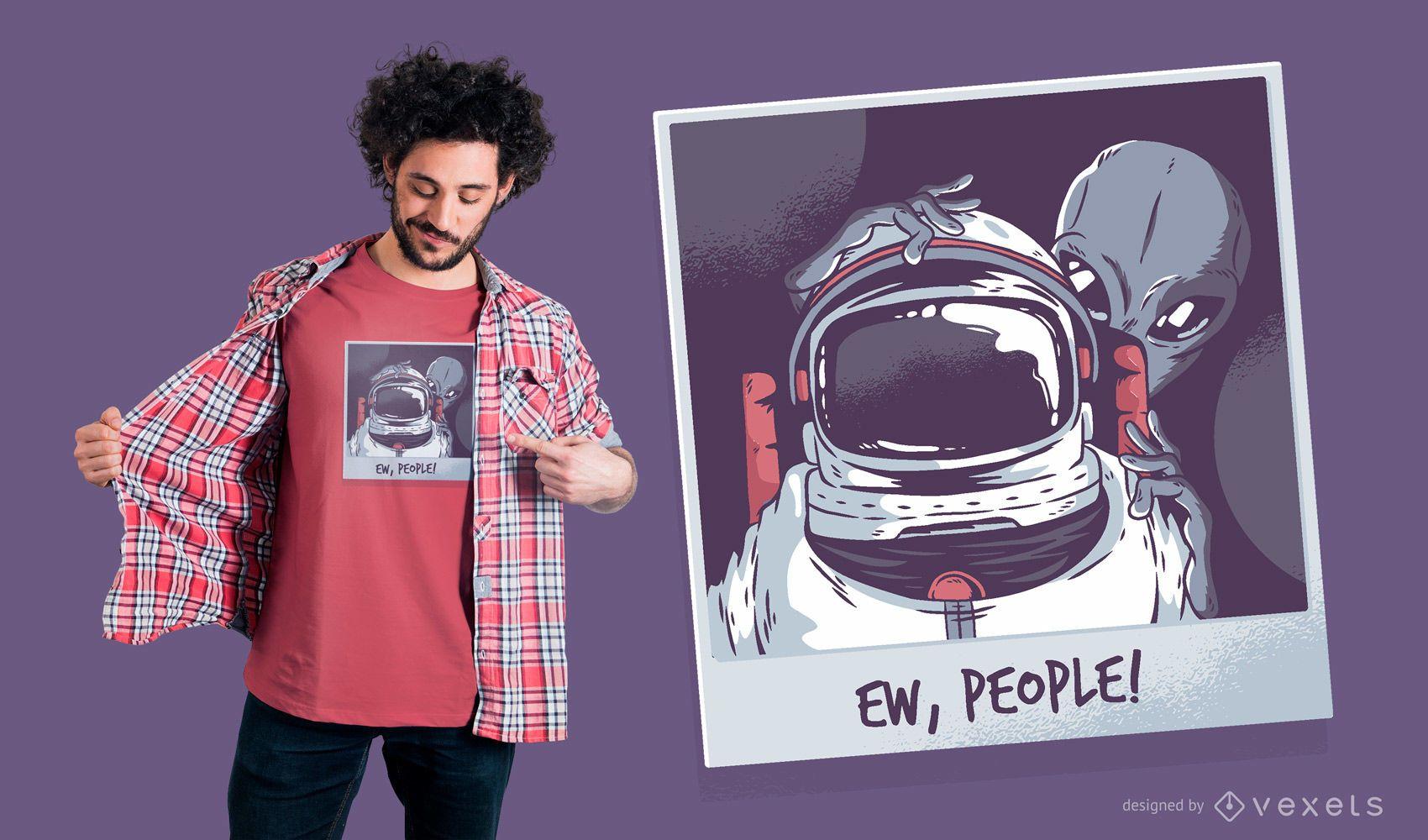 ECA pessoas! Design de camiseta de astronauta