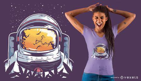 Projeto do t-shirt do astronauta da erva daninha
