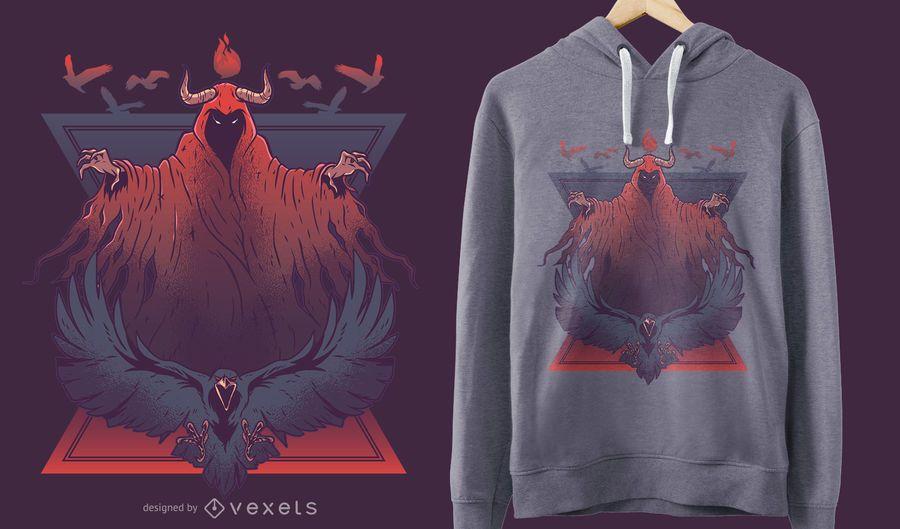 Diseño de camiseta de Demon Raven