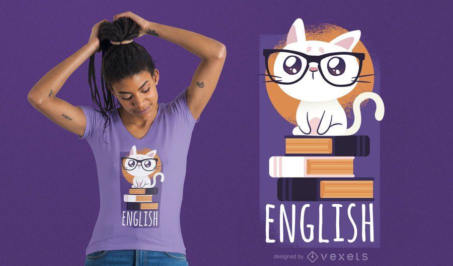 Diseño de camiseta de gato nerd