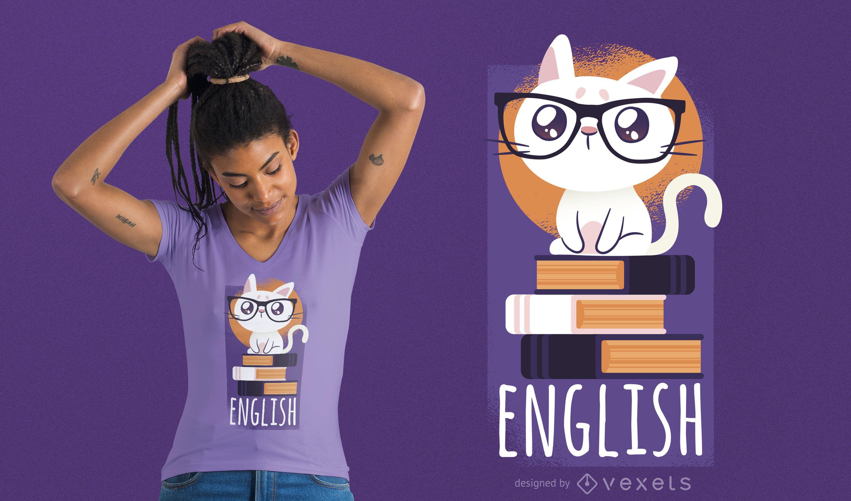 Design de camisetas de gato nerd