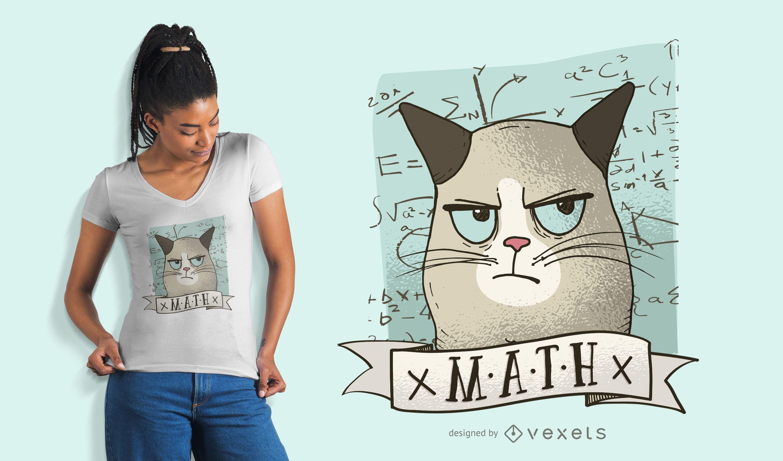Design de camiseta de gato de matemática mal-humorado