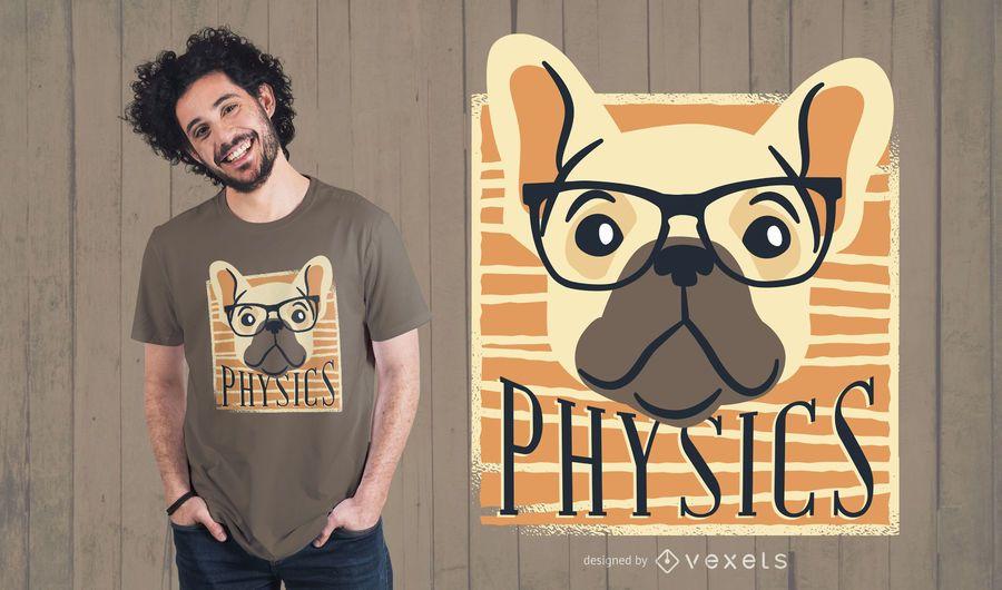 Diseño de camiseta de perro Nerdy de física