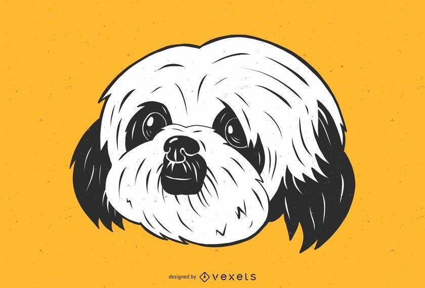 Ilustração bonito do cão de Shih Tzu