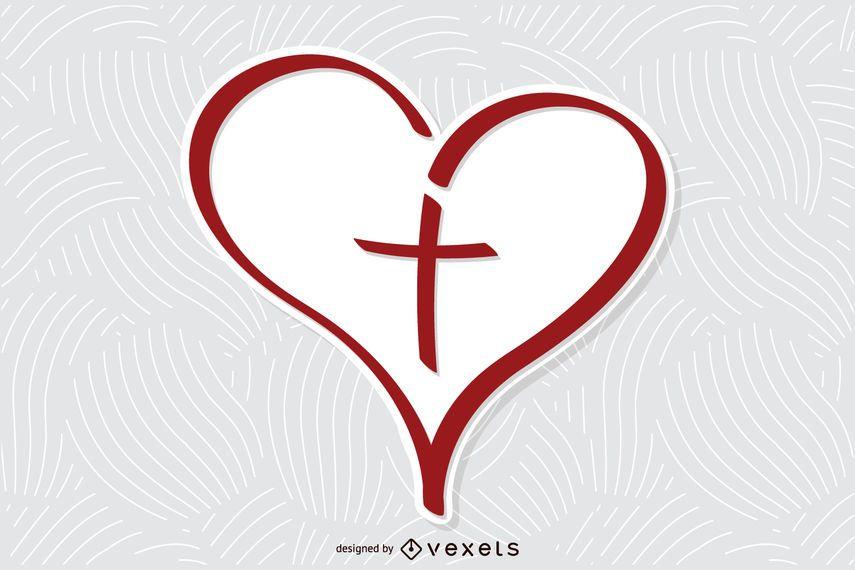 Cruz del corazon vector