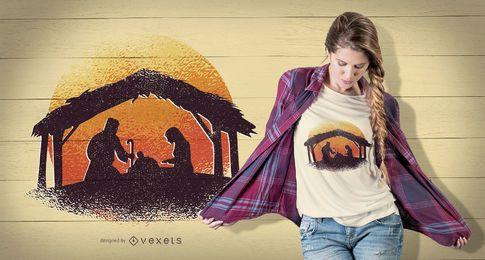 Projeto do t-shirt da cena da natividade