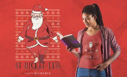 Diseño de camiseta de Santa pobre divertido
