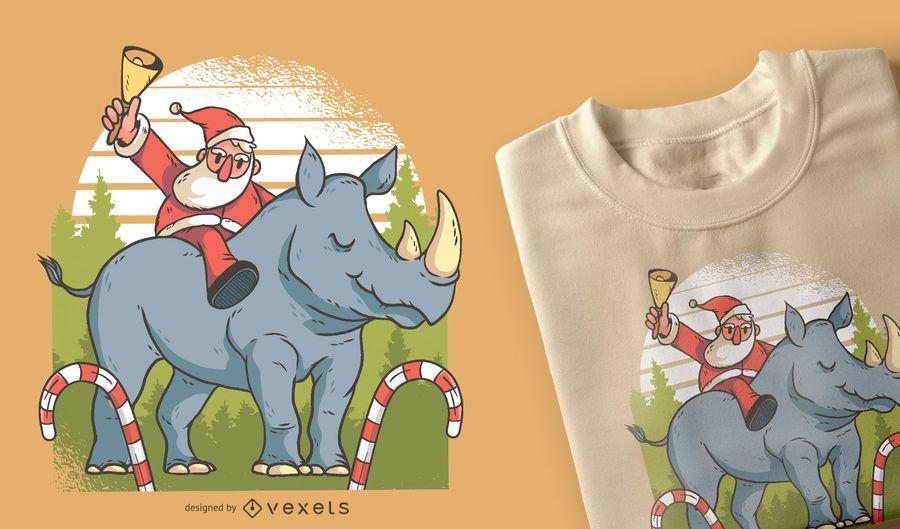 Santa and Rhino T-shirt Design