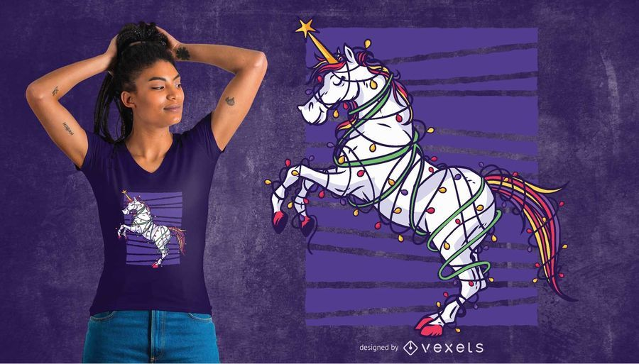 Projeto do t-shirt do Natal do unicórnio