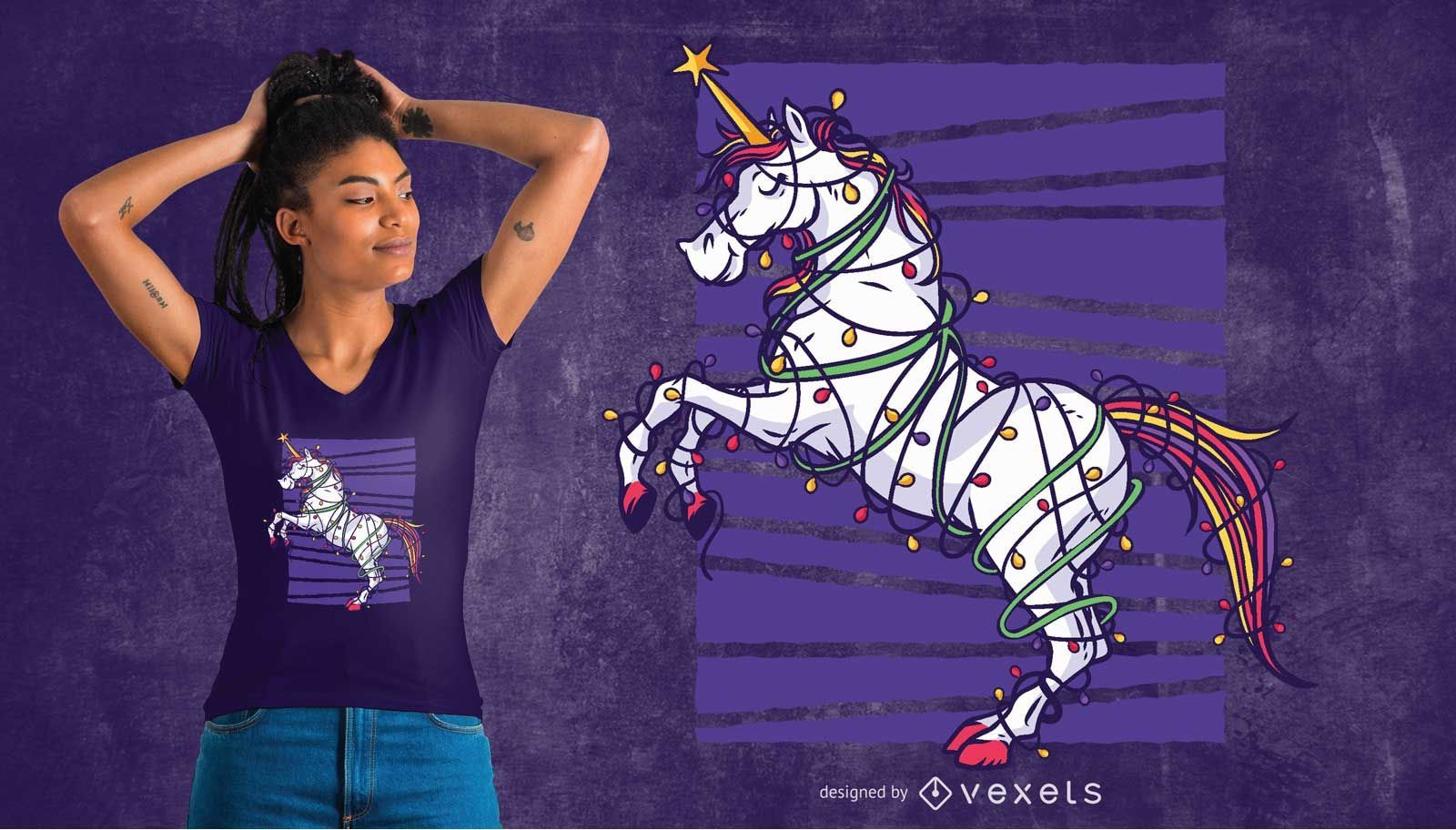 Unicorn Christmas T-shirt Design