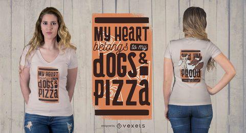 Diseño de camiseta para mascotas y pizza