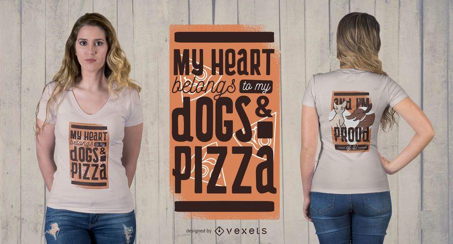 Animais de Estimação e Pizza T-Shirt Design