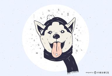 Ilustração de Husky nevado