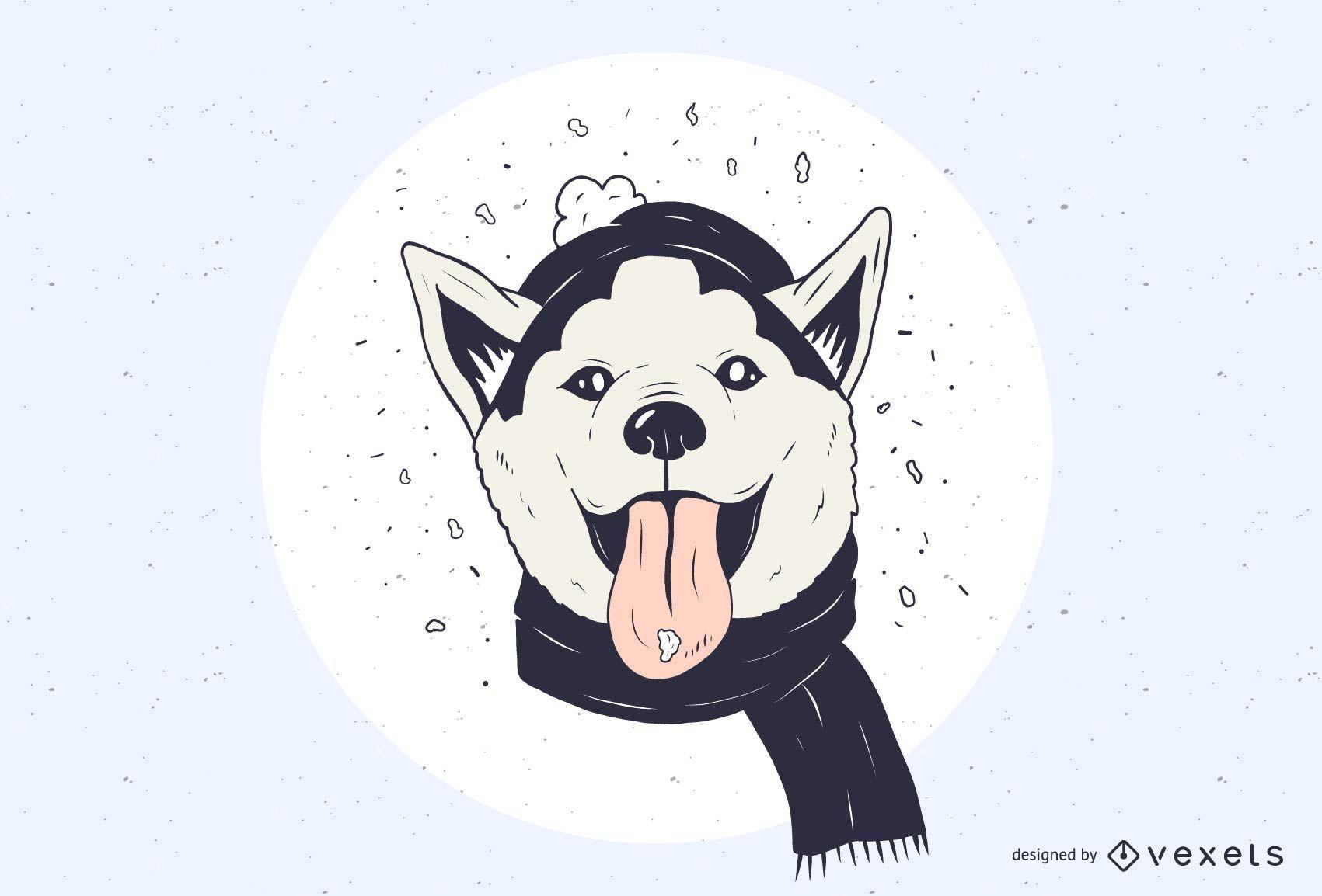 Ilustración de Husky nevado