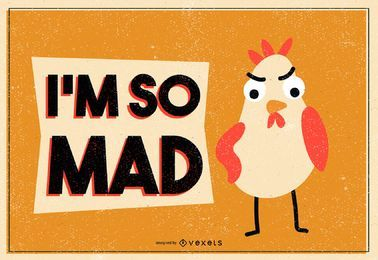 Mad chicken illustration