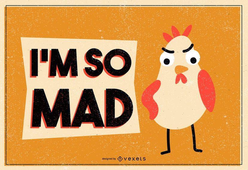 Mad chicken illustration