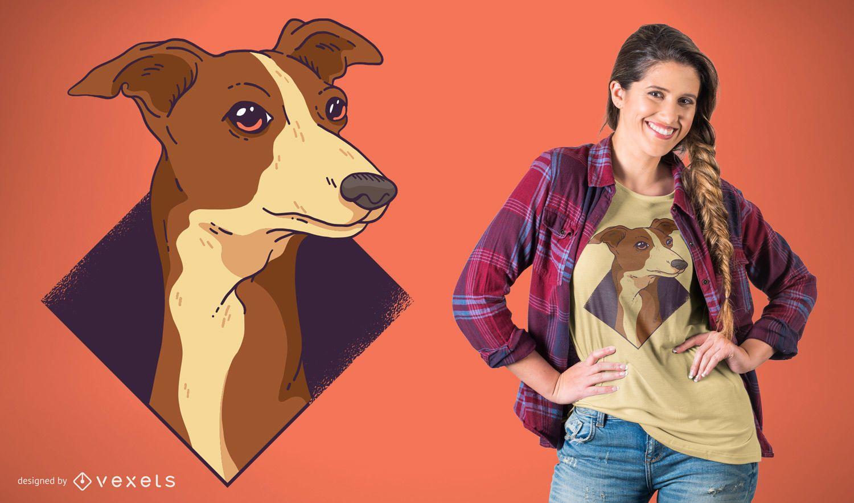 Diseño de camiseta de perro Whippet