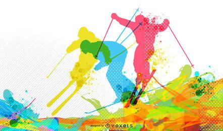 Fundo colorido de esqui