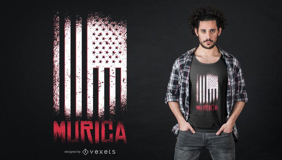 Projeto do t-shirt da bandeira americana de Murica
