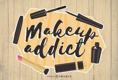 Ilustración de belleza adicta al maquillaje
