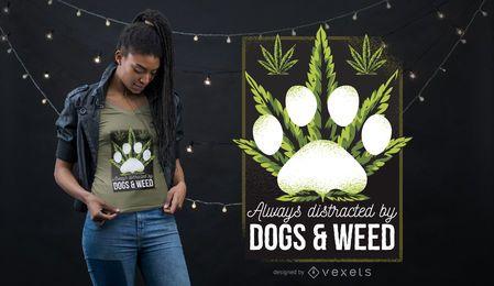 Hunde und Weed T-Shirt Design