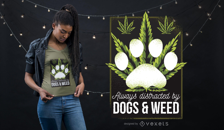 Diseño de camiseta de perros y hierba