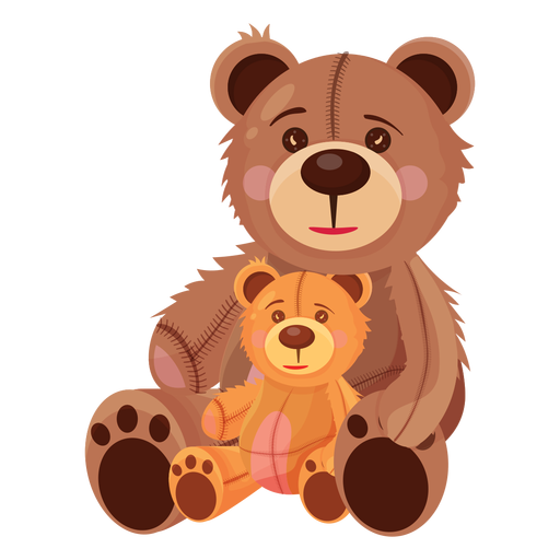 Two teddy bears illustration Transparent PNG
