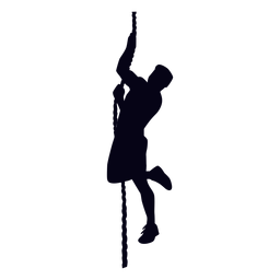 Silhueta de crossfit de escalada de corda
