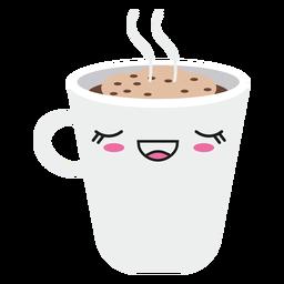 Satisfecho kawaii cara taza de café