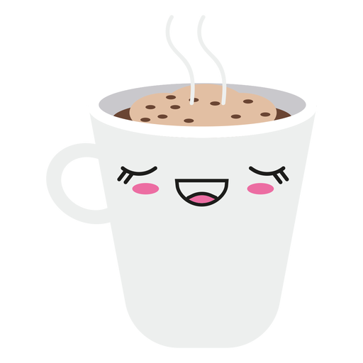 Satisfecho kawaii cara taza de café Transparent PNG