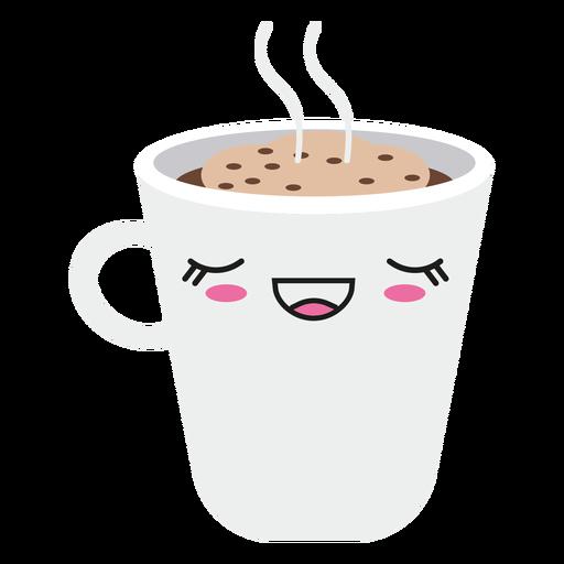 Satisfied kawaii face coffee cup Transparent PNG