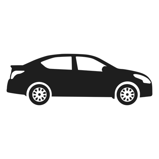 Sedan car side view silhouette Transparent PNG