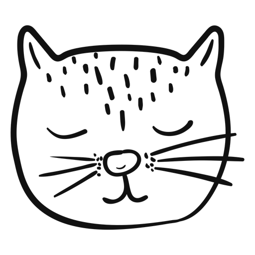 Sleeping cat hand drawn avatar Transparent PNG