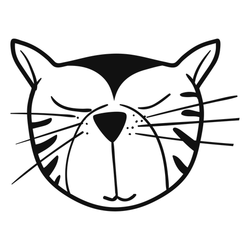 Sleepy cat hand drawn avatar Transparent PNG