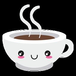 Sorria kawaii rosto xícara de café