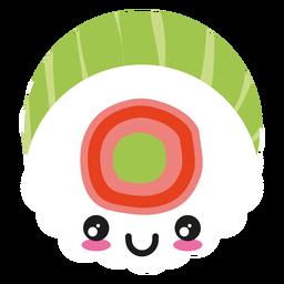 Icono de sushi de cara kawaii de sonrisa