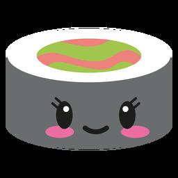 Rollo de sushi de cara kawaii de sonrisa