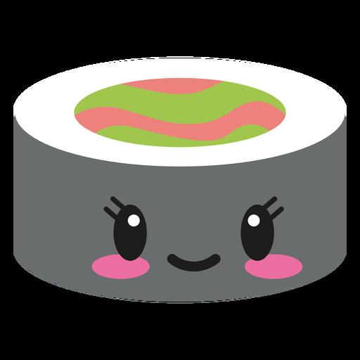 Smile kawaii face sushi roll Transparent PNG