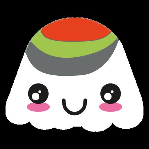 Smile kawaii wasabi sushi roll Transparent PNG