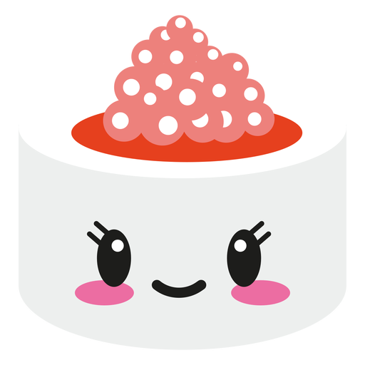 Smiley kawaii face sushi roll Transparent PNG