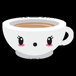 Kawaii sorprendido cara taza de café