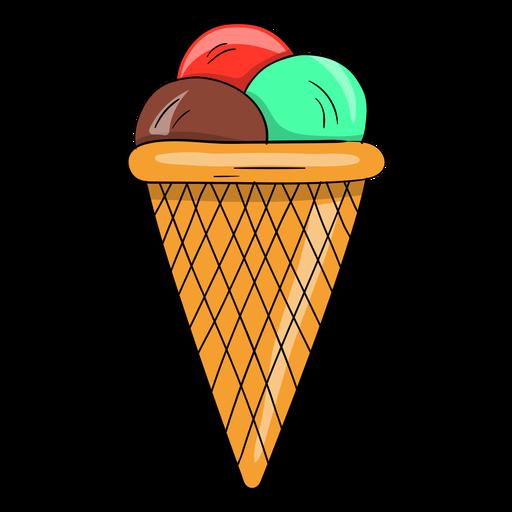 Three balls ice cream cone Transparent PNG