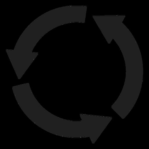 Círculo de tres flechas gruesas