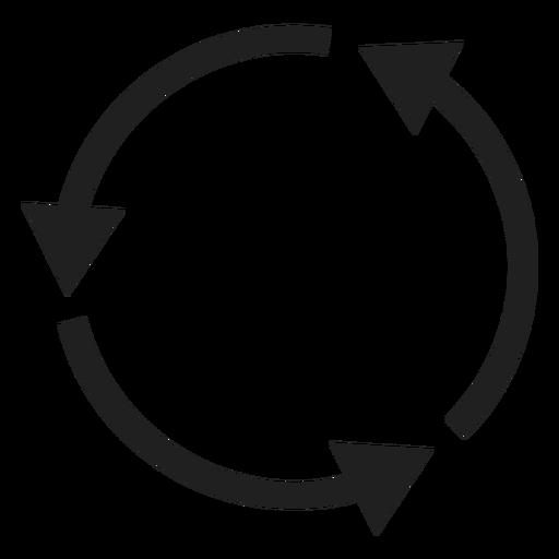 Círculo de tres flechas finas