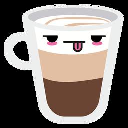 Taza de café cara kawaii cansado