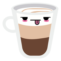Tired kawaii face coffee cup