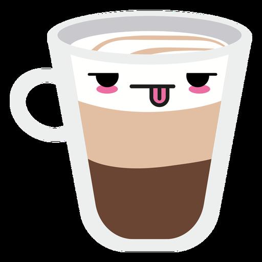 Taza de café cara kawaii cansado Transparent PNG