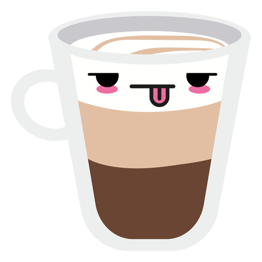 Tired kawaii face coffee cup Transparent PNG