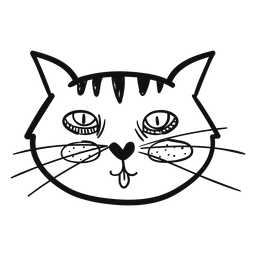 Lengua fuera gato mano dibujada